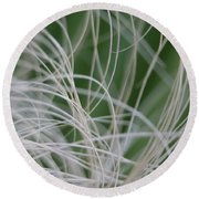 Abstract Image Of Tropical Green Palm Leaves  Round Beach Towel