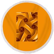 Abstract In Amber Round Beach Towel