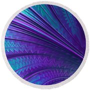 Abstract In Blue And Purple Round Beach Towel
