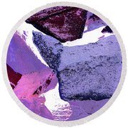 Abstract In Purple Round Beach Towel