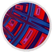 Abstract In Red And Blue Round Beach Towel