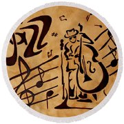 Abstract Jazz Music Coffee Painting Round Beach Towel