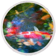 Abstract Koi 1 Round Beach Towel
