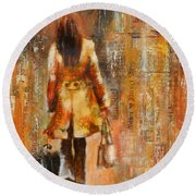 Abstract Lady  5 Round Beach Towel