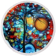 Abstract Landscap Art Original Circle Of Life Painting Sweet Serenity By Madart Round Beach Towel