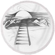 Abstract Landscape Art Black And White Baby Please Don't Go By Romi Round Beach Towel