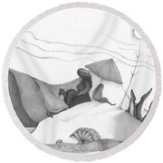 Abstract Landscape Art Black And White Beach Cirque De Mor By Romi Round Beach Towel