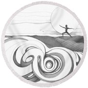 Abstract Landscape Art Black And White Yoga Zen Pose Between The Lines By Romi Round Beach Towel