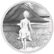 Abstract Landscape Art Black And White Dream The Jumping Off Place By Romi Round Beach Towel