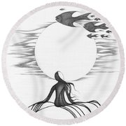Abstract Landscape Art Black And White Goin South By Romi Round Beach Towel by Megan Duncanson