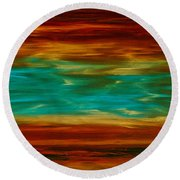 Abstract Landscape Art - Fire Over Copper Lake - By Sharon Cummings Round Beach Towel