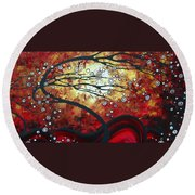 Abstract Landscape Art Original Painting Where Dreams Are Born By Madart Round Beach Towel