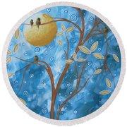 Abstract Landscape Bird Painting Original Art Blue Steel 1 By Megan Duncanson Round Beach Towel