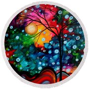 Abstract Landscape Colorful Contemporary Painting By Megan Duncanson Brilliance In The Sky Round Beach Towel by Megan Duncanson