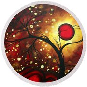 Abstract Landscape Glowing Orb By Madart Round Beach Towel