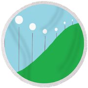 Abstract Landscape Lights On The Hill Round Beach Towel