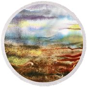 Abstract Landscape Morning Mist Round Beach Towel