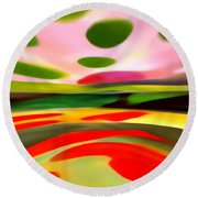 Abstract Landscape Of Happiness Round Beach Towel