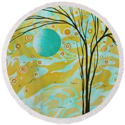Abstract Landscape Painting Animal Print Pattern Moon And Tree By Madart Round Beach Towel