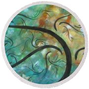 Abstract Landscape Painting Digital Texture Art By Megan Duncanson Round Beach Towel