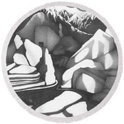 Abstract Landscape Rock Art Black And White By Romi Round Beach Towel