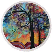 Abstract Landscape Tree Art Colorful Gold Textured Original Painting Colorful Inspiration By Madart Round Beach Towel