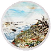 Abstract Landscape Untitled Round Beach Towel