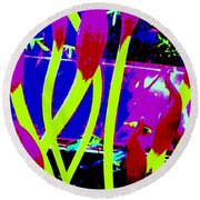 Abstract Lavender  Round Beach Towel