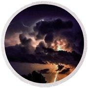 Abstract Lightning 14 Round Beach Towel
