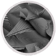 Abstract - Lines - Path To Destruction Round Beach Towel