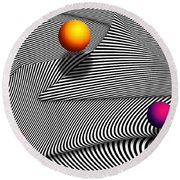 Abstract - Lines - That's A Moire Round Beach Towel
