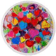 Abstract Love Bouquet Of Colorful Hearts And Flowers Round Beach Towel