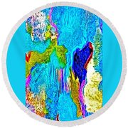 Abstract Melting Planet Round Beach Towel