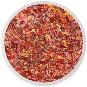 Abstract - Nail Polish - Cosmetically Speaking Round Beach Towel by Mike Savad