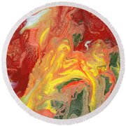 Abstract - Nail Polish - In A State Of Flux Round Beach Towel by Mike Savad