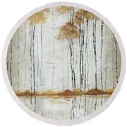 Abstract Neutral Landscape Pond Reflection Painting Mystified Dreams I By Megan Ducanson Round Beach Towel