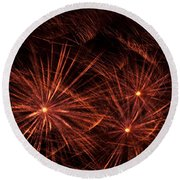 Abstract Of Fireworks On Black Round Beach Towel
