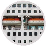 Abstract Of Lifeboats On A Large Cruise Ship Round Beach Towel
