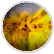 Abstract Of Sunflowers Round Beach Towel