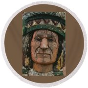 Abstract Of Wooden Indian Head Round Beach Towel