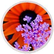 Abstract Orange And Purple Flower Round Beach Towel
