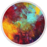 Abstract Original Painting Colorful Vivid Art Colors Of Glory II By Megan Duncanson Round Beach Towel