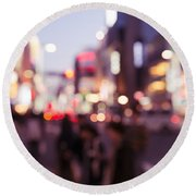 Abstract Out-of-focus City Scenery With Colorful Lights Round Beach Towel