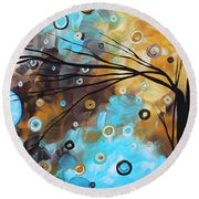 Abstract Painting Chocolate Brown Whimsical Landscape Art Baby Blues By Madart Round Beach Towel