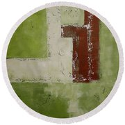 Abstract Painting Green 13013 Round Beach Towel