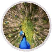 Abstract Peacock Digital Artwork Round Beach Towel