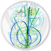 Abstract Pen Drawing Fifty-eight Round Beach Towel