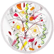 Abstract Pen Drawing Fifty-five Round Beach Towel