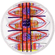 Abstract Pen Drawing Fifty Round Beach Towel