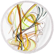 Abstract Pen Drawing Fifty-nine Round Beach Towel